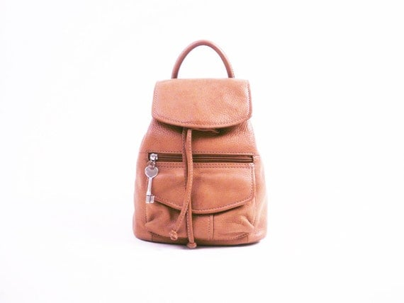 Vintage Brown Leather Backpack // Drawstring Shoulder Bag / By Fossil