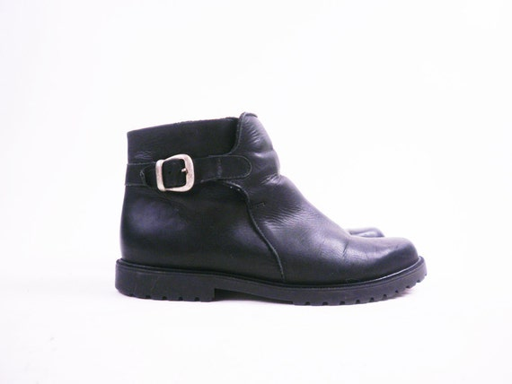 Vintage Black Leather Ankle Boots // Zip Up Chelsea Booties / Buckle / Size 10