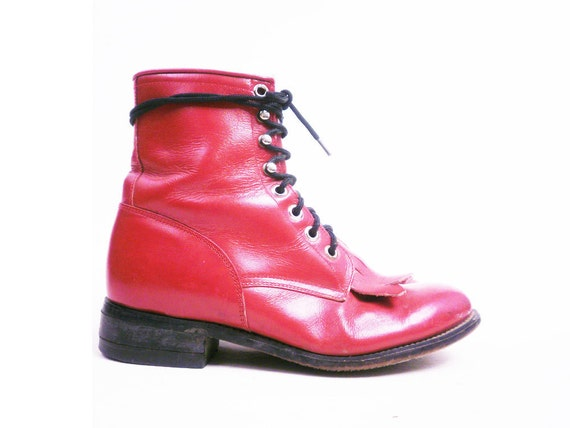 Vintage Red Leather Combat Boots Lace Up Justin Ropers Size 5.5