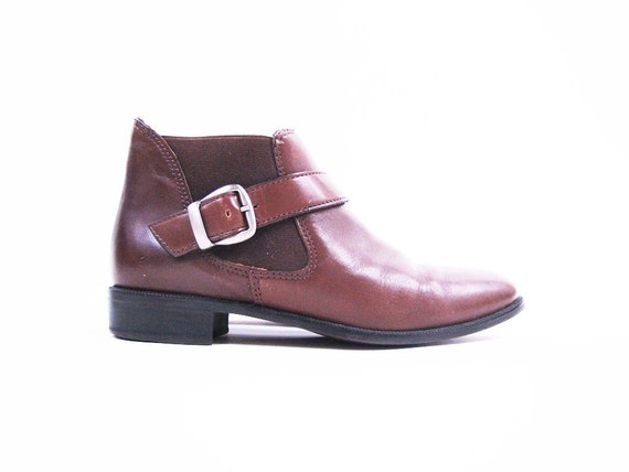 Vintage Brown Leather BUCKLE Ankle Boots with Monk Strap // Size 6