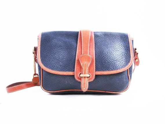 Vintage Navy and Brown Leather Dooney and Bourke Satchel Shoulder Purse