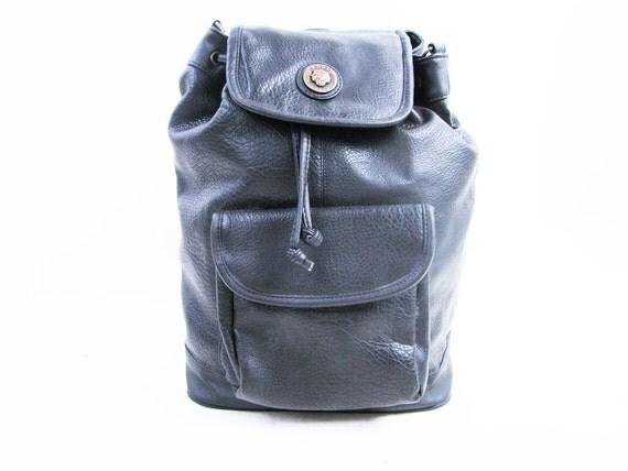 Vintage 90s Drawstring Black Backpack // Large