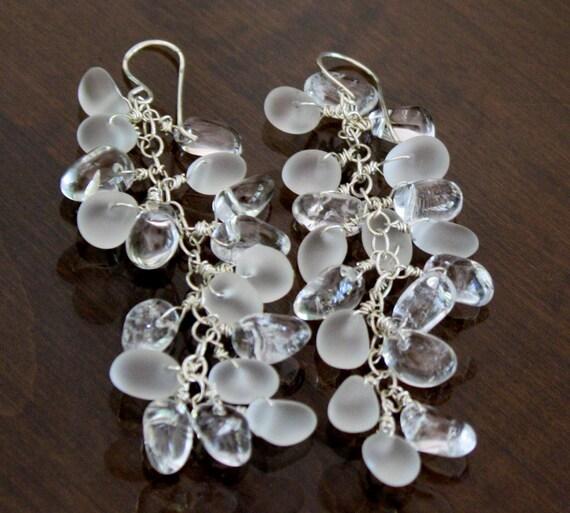 Dangle earrings cluster earrings drop earrings  wire wrapped , Sterling silver, modern chic glitzzy ritzzy chic