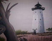 Light house at ship island gulf coast original painting