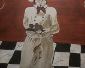French chef in folk art style reds whites black original painting