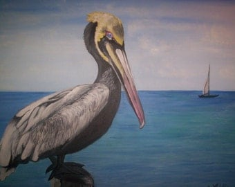 Blue Pelican perched on post in water sailboat in background original painting