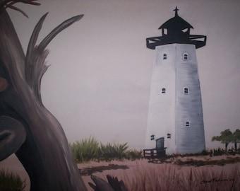 Light House at Ship Island original Gulf Coast painting