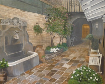 French Quarter New Orleans courtyard garden realism original painting