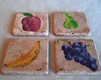 Fruit Coaster set hand painted tumbled marble
