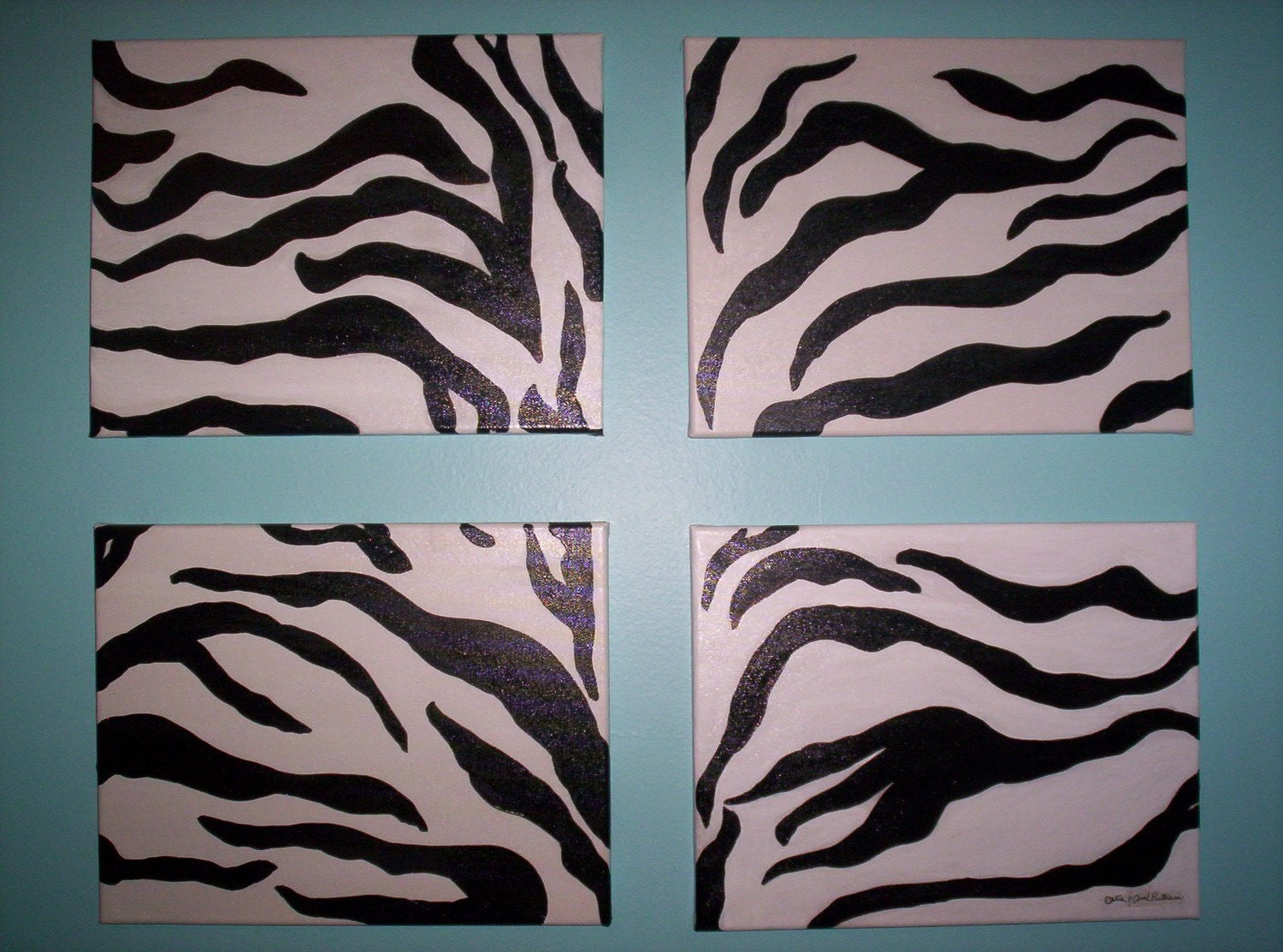 Zebra Stripes Wall Decor : Zebra print wall art black and white on canvases
