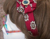 Red and Cream Necktie Headband