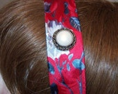 Red Silver Roses Necktie Headband