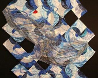 Flood Textile Fiber Art Quilt Wall Hanging