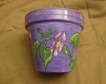 Purple and blue morning glory planter w/saucer