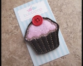 Boutique Chocolate with Pink Icing No Slip Felt Cupcake Hair Clip