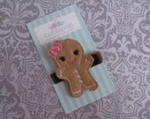 No Slip Felt Hair Clip M2MG Gingerbread Girl Christmas Clippie