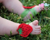 Petal Toes Barefoot Baby Sandals Strawberry Festival Felt Strawberry Sandals INTRO PRICING