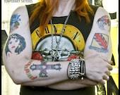 AXL ROSE inspired temporary TATTOOS (handmade) Guns n' Roses