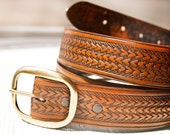 "Plus Size Custom Leather Belt - 1.5"" wide by your length up to 64"" waist size - Woven Pattern with your choice of stain color - Unisex"