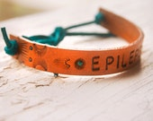 Epilepsy medical alert bracelet - Thin Band Version - Unisex - Hand stamped, tooled and stained leather bracelet