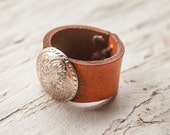 Southwestern Silver Concho Leather ring - Tooled Sunburst Design - Unisex - Hand stamped - Made to Order