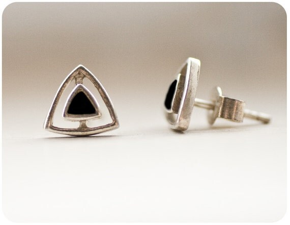 Last Pair - Tiny Vintage Sterling Silver and Black Onyx Stud Earrings - 1970's Southwest Native American design - post