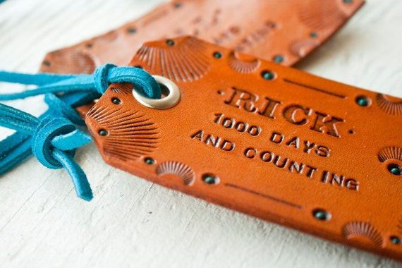 Custom Leather Luggage Tag - TOOLED and decorated - CLASSIC SHAPE - customize with your text, stain color and suede lace color