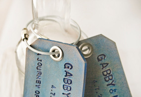 Reserved for Olivia - 2 Custom leather luggage tags with Super Strong Stainless Steel Twist Lock Cables