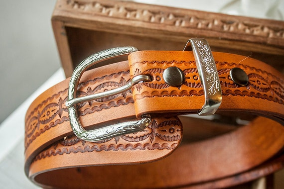 Custom Leather Belt - 1.5 inches wide by your custom length - Western Clouds Pattern with your choice of stain color - Unisex