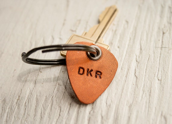 Leather Guitar Pick keychain- Personalize with up to 4 characters - key ring, luggage tag - hand cut - perfect for Dad