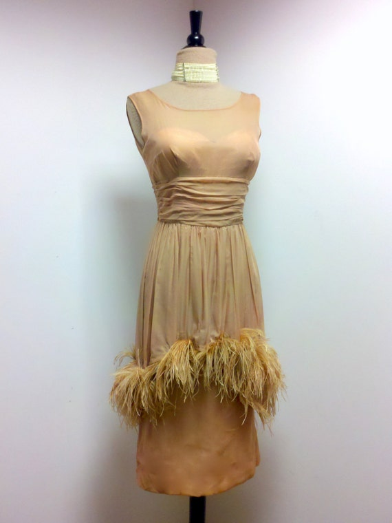 Vintage 1950s Blush Nude Sheer Illusion Cocktail Dress with Ostrich Feather Trim / Holidays Party Dress / Fits Size Small