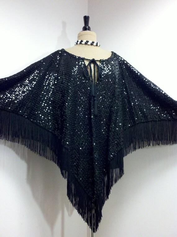 Vintage 1970s Cape . 70s Poncho . Glam . Disco . Black Sequin Cape