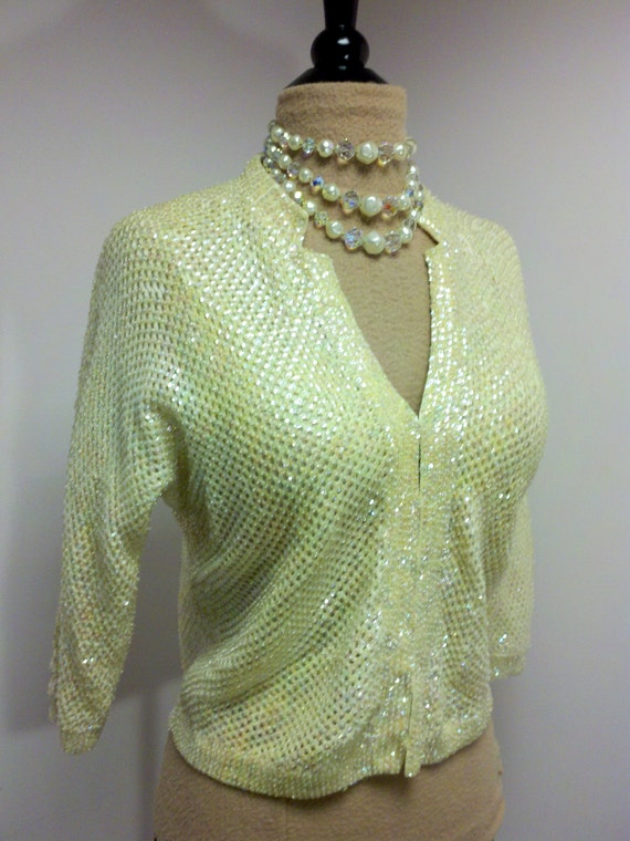 Vintage 1950s Ivory Wool and Hand-beaded Iridescent Sequin Sweater Hong Kong