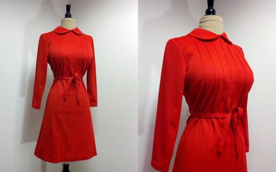 Vintage 1970s does 1940s Red Dress with Tuxedo Pleating