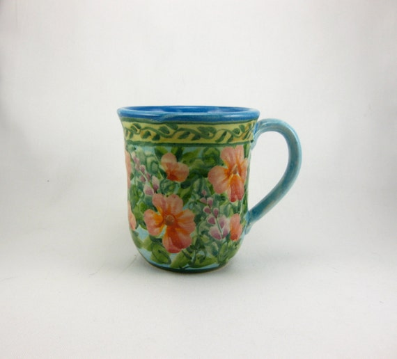 Turquoise handmade and painted porcelain coffee cup