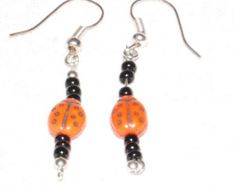 Lady Bug Earrings, Bead and Sterling Silver
