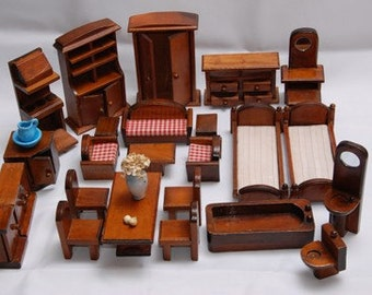 REDUCED  Miniature Dollhouse Furniture, One Inch Scale,Wood, FiveRooms Plus