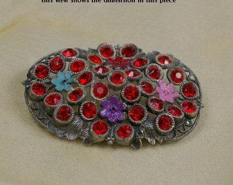 Vintage 30s Art Deco Little Nemo RED Rhinestone & Enamel Flowers Filigree Pot Metal Brooch
