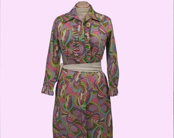 Vintage 60s 70s Deadstock Psychedelic Mini Shirt Dress, Ruffled Neckline & Sleeves, Sz Med Lg 10 12