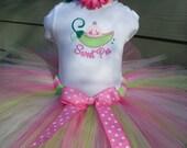 Custom Tutus...PINK SWEET PEA Design..sizes newborn, 3,6,9,12,18,24 months and 2T,3T,4T,5T,6T ,Shower Gift, Costume, Birthday, Baby Gift,