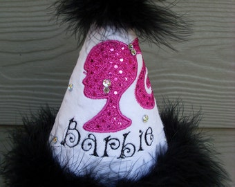 Custom Party Hats..BARBIE INSPIRED HAT... any color...any theme...Birthday hat...dress up... Princess hat