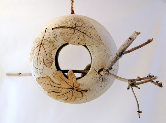 Hanging Clay Bird Feeder - 2 Sided - Using Real Leaves - Removable Stick Perch