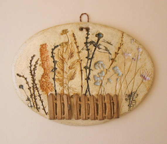 Herbs & Plants Oval Wall Hanging - Made with Real Plant Materials - Rustic Fence - Colorful