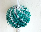 Green, Silver Origami Temari Ball Ornament with Tassel