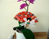 Washi Paper Fan Ornament with Girl Doll