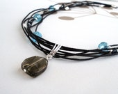 SALE - Multi stranded necklace turquoise grey glass layered black ribbon rocker ooak handmade