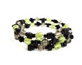 SALE - Wrap cuff bracelet black onyx stone apple green glass memory wire boho rocker ooak