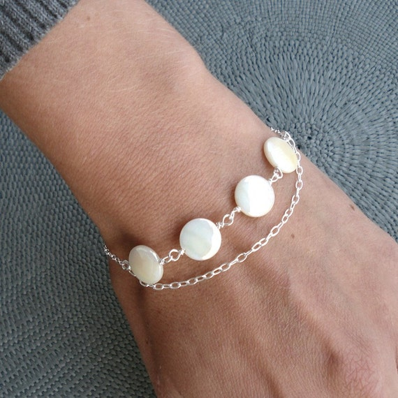 Mother of pearl coins and silver bracelet chain white minimalist elegant handmade