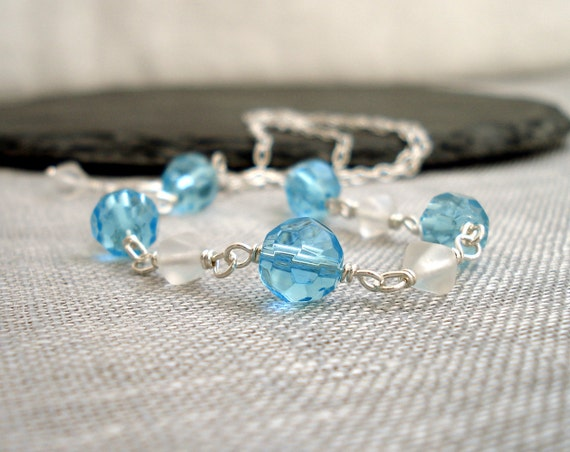 Silver chain necklace turquoise and white glass elegant glitter sparkle ooak handmade