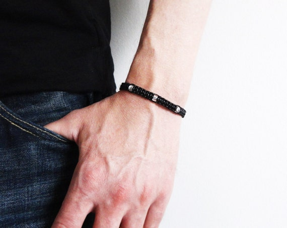 Men's leather bracelet black knotted cuff leather macrame bracelet unisex women